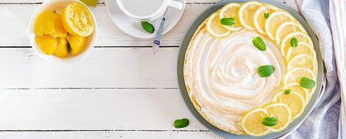 Tart with lemon curd  and meringue. Lemon  pie. American cuisine